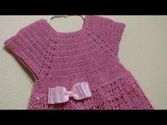 Vestido Crochet Rosa Elegante - Crochet Back Scrubbie Beginner Crochet Tutorial, Crochet For Beginners, Crochet For Kids, Baby Dress Patterns, Crochet Patterns, Crochet Blouse, Knit Crochet, Crochet Hippo, Blanket Crochet