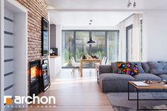 Dom w śliwach Dining Room Design, Patio Design, House Design, Interior Exterior, Interior Design, Architecture Design, Living Room, Outdoor Decor, Inspiration