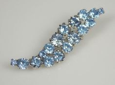 Vintage Blue Glass Rhinestone Curved Brooch by TheFashionDen, $15.00