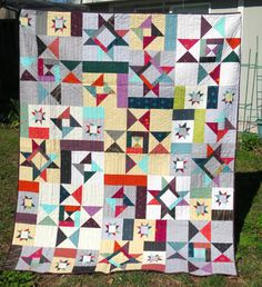 Modern Inspired Lap Quilt  Star Quilt  Modern Stars