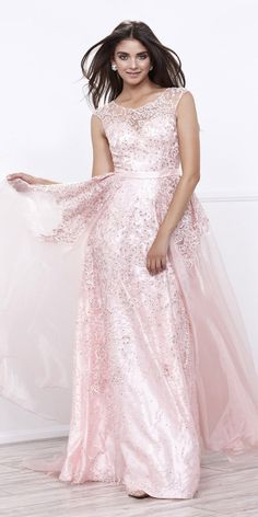 Bashful Pink Lace Illusion Prom Gown with Organza Train #discountdressshop #bashfulpink #promgown #prom2k17