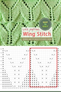 Wing Lace Stitch Easy To Knit Easy Knitting, Loom Knitting, Knitting Stitches, Leaf Knitting Pattern, Knitting Patterns, Knitting Ideas, Yarn Projects, Knitting Projects, Vintage Crochet Patterns