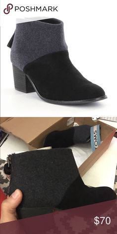 Toms Leila Booties Black and grey. Size 6.5. NWT. Super cute!  #newyearcleancloset On here to declutter, so 🚫 trades. If I want something in your closet badly enough, I'll buy it 😍  Reasonable offers always welcome! TOMS Shoes Ankle Boots & Booties