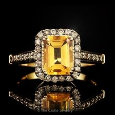 LeVian Emerald Cut Citrine Ring with Chocolate Diamond Bezel