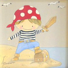Aida Zamora - Art for kids. Custom paint. Cuadro infantil personalizado. Pirate
