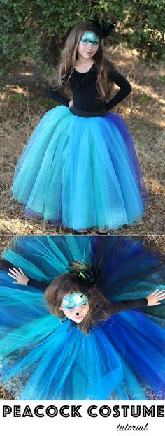 Make this dramatic tutu for a simple, but stunning Peacock Costume! : Make this dramatic tutu for a simple, but stunning Peacock Costume! Diy Girls Costumes, Halloween Costumes For Teens, Costume For Girls, Halloween 2020, Costume Halloween, Halloween Diy, Peacock Costume Kids, Diy Tulle Skirt, Tulle Skirts