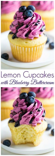 These Lemon Cupcakes with Fresh Blueberry Buttercream are a MUST bake this Summer! #dessert #cupcakes #blueberry