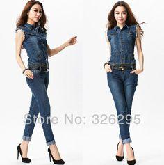 Women Denim Jumpsuit One Piece Romper Pants Blue Jean Fitted Long ...