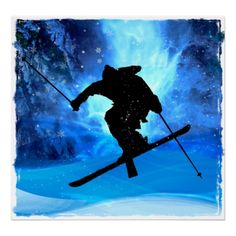Winter Landscape And Freestyle Skier Poster - Custom Posters Winter Painting, Winter Art, Painting Snow, Design Your Own Poster, Canvas Art, Canvas Prints, Personalized Wall Art, Winter Landscape, Art Plastique