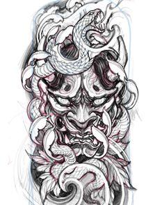 Media by davidhoangtattoo: Hannya and snake sketch. Irezumi Tattoos, Leg Tattoos, Body Art Tattoos, Sleeve Tattoos, Tattoos For Guys, Cool Tattoos, Japanese Demon Tattoo, Japanese Tattoos, Oni Maske