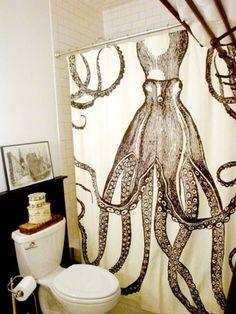 Kraken Shower Curtain Octopus Shower Curtains, Cool Shower Curtains, Octopus Bathroom, Pirate Bathroom, Bathroom Inspiration, Interior Inspiration, Design Inspiration, Bathroom Ideas, Design Bathroom