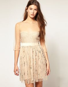 asos mesh dress with sequins, pretty