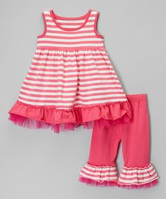 Love this Pink & White Stripe Dress & Capri Pants - Infant, Toddler & Girls by Be Girl Clothing on #zulily! #zulilyfinds