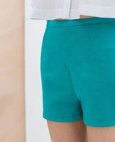NWT ZARA HIGH WAISTED SHORTS TRF TURQUOISE US 06 MEX 28 UK 10 IT 42 EUR 38 #ZARA #MiniShortShorts