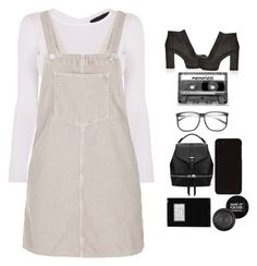 """""""Hey girl open you're walls play with you're dolls ....."""" by blushingfreckles ❤ liked on Polyvore featuring Topshop, CASSETTE, MAKE UP FOR EVER, simple, pretty and pinafore"""