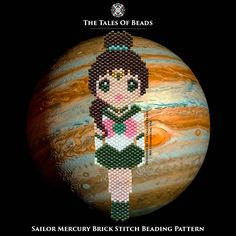 These beads will tell you the tale about Sailor Jupiter. Protected by Jupiter, the planet of thunder, Guardian of Protection. Stay tuned for other Sailor Soldiers! ^^ Width: 1.1 (3cm) Length: 3.5 (9.5cm) Colors: 9 Stitch: Brick Stitch / Peyote Beads: Miyuki Delica 11/0 Bead Count: