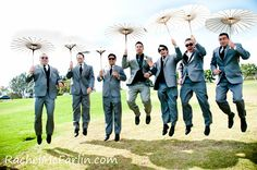 Creative Bridal Party Groosmen Wedding Photo with Guys Jumping holiding Umbrellas / Parasols  www.rachelmcfarlinphotography.com