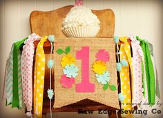 FLOWERS Birthday High Chair Highchair Banner Photo Prop