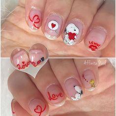 Snoopy Nails <3 Cute Gel Nails, New Year's Nails, Cute Nail Art, Love Nails, Manicure Nail Designs, Nail Manicure, Beautiful Nail Designs, Cute Nail Designs, Snoopy Nails