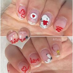 Snoopy Nails <3 Cute Gel Nails, New Year's Nails, Cute Nail Art, Snoopy Valentine, Valentine Nails, Manicure Nail Designs, Nail Manicure, Beautiful Nail Designs, Cute Nail Designs