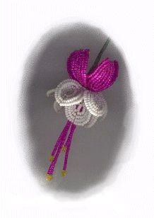 Fuschia, French flower beading- my mom did this craft