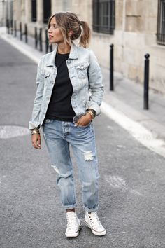 Slouchy jeans work perfectly with ankle high converse and a faded denim jacket…