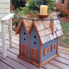 Birdhouse table design from Projects for Outdoor Living by Stevie Henderson & Mark Baldwin. If interested, please ask for a free quote on this item. We'd love to build it for you. Popular Woodworking, Woodworking Furniture, Woodworking Plans, Woodworking Projects, Router Projects, Woodworking Videos, Woodworking Tools, Outdoor Wood Projects, Outdoor Decor