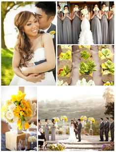 Yellow and Grey #Wedding Flowers and #Bridesmaid Dresses