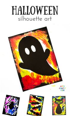Create brightly coloured Silhouette Halloween Art using with our kid-friendly templates. Art Halloween, Halloween Art Projects, Halloween Templates, Halloween Arts And Crafts, Halloween Silhouettes, Easy Arts And Crafts, Preschool Halloween, Kid Crafts, Kids Silhouette