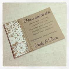 Rustic Save the Date wedding invitation by StunningStationery, $5.00
