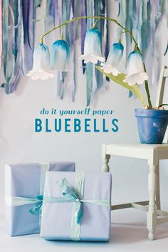 Paper bluebells - love these large paper flowers - DIY paper flower tutorial