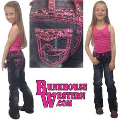Cowgirl Tuff Company, Girl's Hot Pink Jeans, Little Cowpoke, Buckaroo, Youth Western Clothing, Kids Rodeo Pants, $74.99, http://www.bunkhousewestern.com/GCANDY_p/ghtpnk.htm