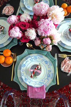 Gorgeous table from Mimosa Lane with blue and white plus pink peonies : ) The Pink Pagoda: Blue and White Monday & Christmas