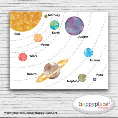 Educational Solar System, Space, Planets Printable Large Poster, Featuring Watercolor Texture Planets And Universe Wall Art, Homeschool Wall Solar Bildungssystem Weltraum Planeten druckbare von HappyPlaceArt Make A Solar System, Solar System Poster, Solar System Model, Solar System Projects, Solar System Planets, Free Printable Posters, Printable Coupons, Space Themed Nursery, Cute Diy Projects