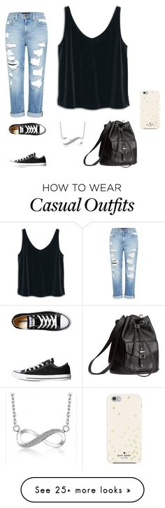 """Casual Movie"" by ayowendy on Polyvore featuring MANGO, Genetic Denim, Converse, H&M and Kate Spade"