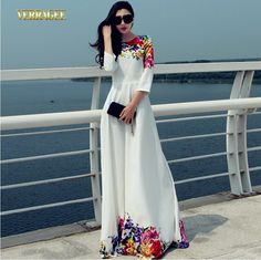 Verragee Autumn Winter Dress Floral Print Patchwork White Dress Floor Length Long Maxi Dress Party Evening Dresses Women 2014
