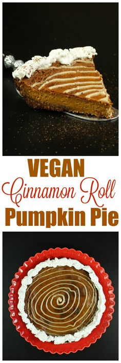 Pumpkin Pie with a Cinnamon Roll Flavor Boost! 2 special ingredients you likely haven't seen in pumpkin pie that make this dreamy, creamy, buttery and rich! Only 8 ingredients needed for this entire pie (+salt)! Raw Desserts, Vegan Dessert Recipes, Whole Food Recipes, Vegetarian Desserts, Vegan Pumpkin Pie, Pumpkin Pie Recipes, Vegan Christmas, Vegan Thanksgiving, Vegan Treats