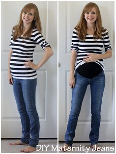 """Almost two years ago, I broke the zipper on a pair of my jeans (I've never done this before or since, happily), and I thought, """"WHAT could you possibly do with a pair of jeans with a broken zipper?"""" And then I remembered that I'd made myself a pair of maternity jeans once upon a time, and this pair might be a chance for me to do it again, now that I knew a little better what I was doing. So I stashed them away for many many months until I was pregnant again. And then after I made them, I…"""