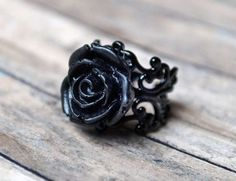 Black Jewelry Black Rose Ring Victorian Gothic Midnight Dark Lovely by LimonBijoux -via etsy