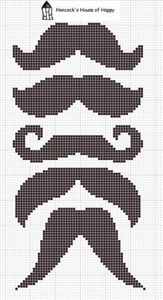 Diferentes bigotes para punto de cruz >> Moustaches cross stitch