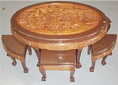3145b Oriental Heavy Carved Table With Six Stools Cla Lot