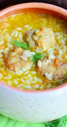 Chicken Meatball & Orzo Hearty Soup