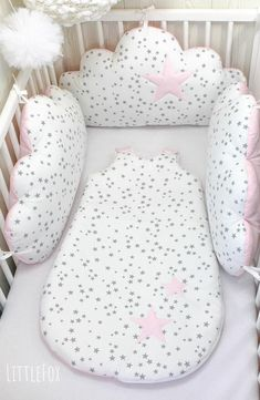 Baby cot bumpers, 3 cloud cushions or pillows, pale pink, white and grey - Baby pillow Baby Cot Bumper, Baby Cribs, Baby Bedding Sets, Baby Pillows, Bolster Pillow, Cloud Cushion, Baby Gadgets, Baby Sewing Projects, Baby Room Decor