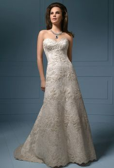 Brides: Alfred Angelo Sapphire. Satin A-line gown and re-embroidered lace featuring a dramatic scalloped sweetheart neckline with a crystal beaded trim. The princess line silhouette has been decorated with additional beaded lace appliqu�, and finished with a chapel length train. Available with a corset back as style 801C.