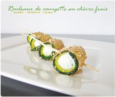 Zucchini and fresh goat cheese rolls Raw Food Recipes, Gourmet Recipes, Appetizer Recipes, Vegetarian Recipes, Healthy Recipes, Tapas, Appetisers, Creative Food, Vegan