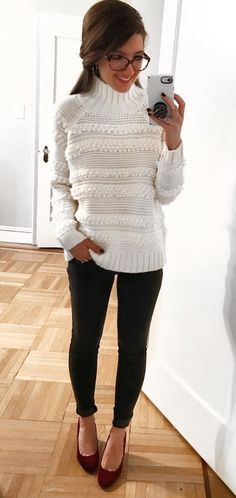 #winter #outfits white sweater and black leggings