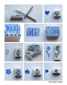 Eraser Stamps By {nifty thrifty things}  I remember doing this when I was little!