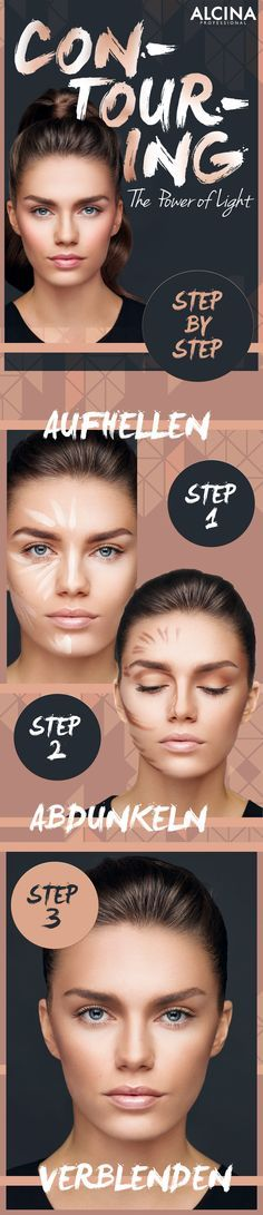 Contouring Guide: So konturierst du dein Gesicht schnell und einfach als Tages-Make-up. Die Produkte gibt's im Alcina Shop. Contouring Guide: How to quickly and easily contour your face as a day make-up. The products are in the Alcina Shop. Makeup Contouring, Contouring And Highlighting, Face Makeup, Contouring Guide, Contouring Tutorial, Strobing, Eyeshadow Makeup, Beauty Make-up, Makeup Tutorials