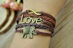 Infinity Love & Elephant charm braceletRetro brown by Richardwu, $5.80