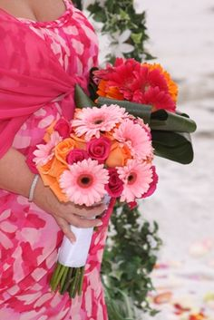 Bridal Bouquet and Bridesmaid Bouquet with Roses and Gerbera Daisies